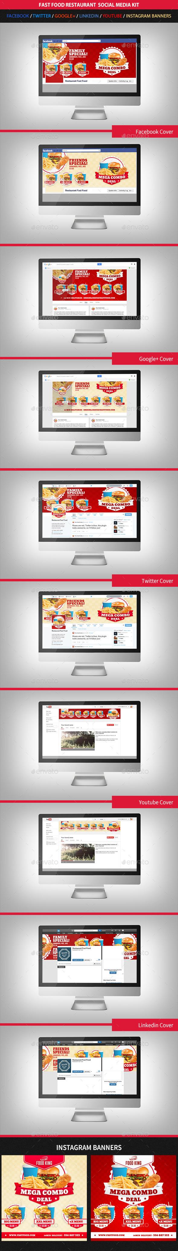 Restaurant Fast Food Web Social Media Kit  - Social Media Web Elements