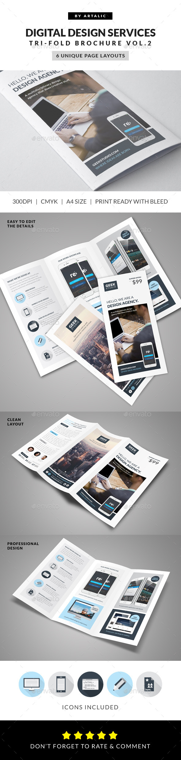 Digital Design Firm Brochure - Brochures Print Templates