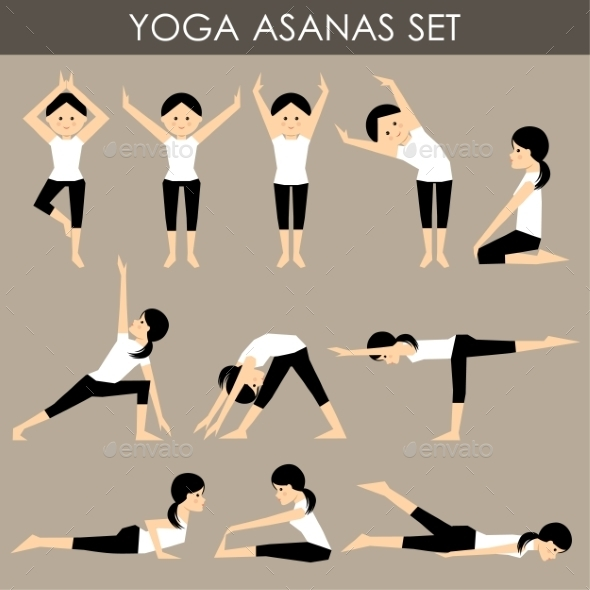 Yoga Asanas Set. - People Characters