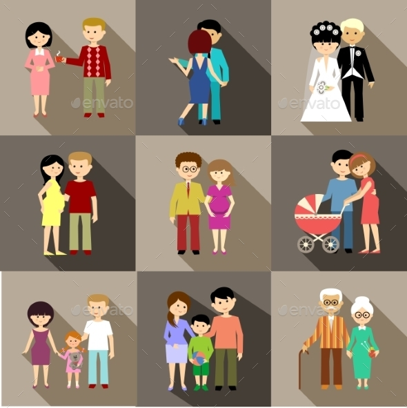 Flat Set of Family Life - People Characters