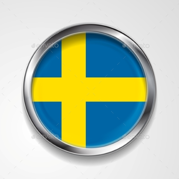 Swedish Metal Button Flag - Backgrounds Decorative