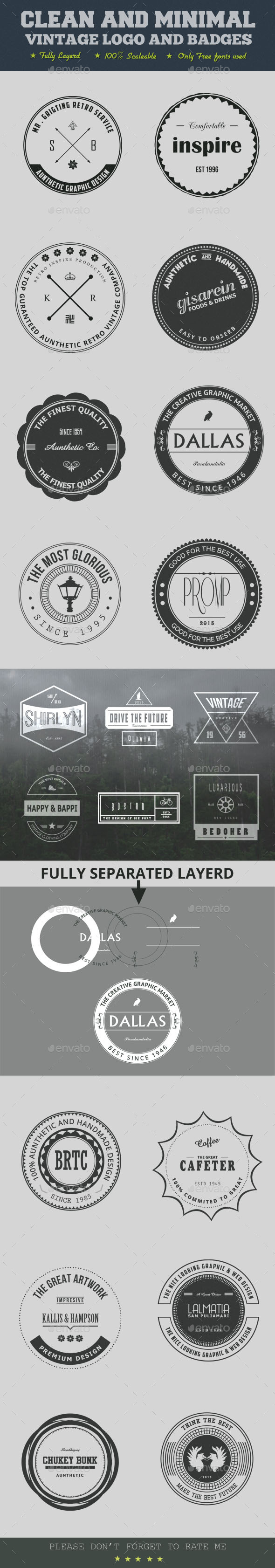 Clean And Minimal Vintage Logo And Badges - Badges & Stickers Web Elements