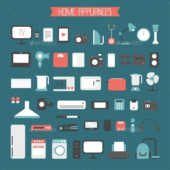 Set of Electronic Devices and Home Appliances  - Computers Technology