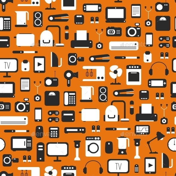 Seamless Pattern of Electronic Devices  - Computers Technology