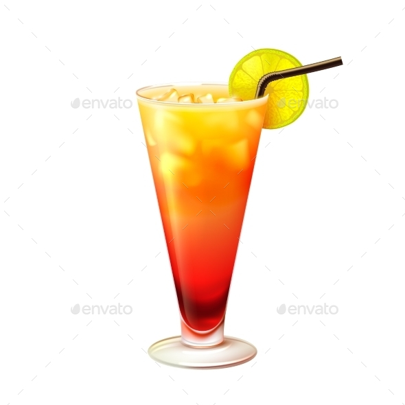 Tequila Sunrise Cocktail  - Food Objects