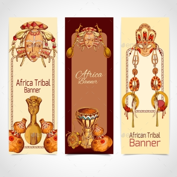 Africa Sketch Banners  - Travel Conceptual