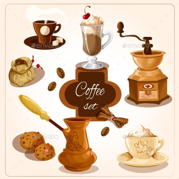 Coffee Decorative Set - Food Objects