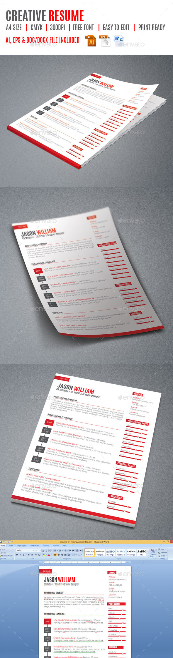 Creative Resume - Stationery Print Templates