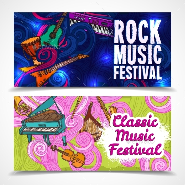 Music Horizontal Banners - Borders Decorative