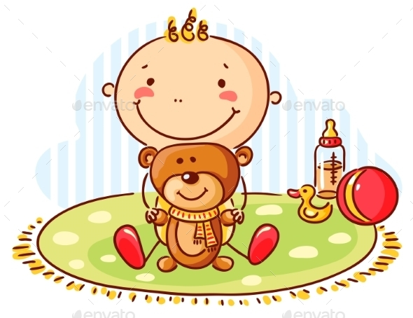 Baby and Teddy Bear - People Characters
