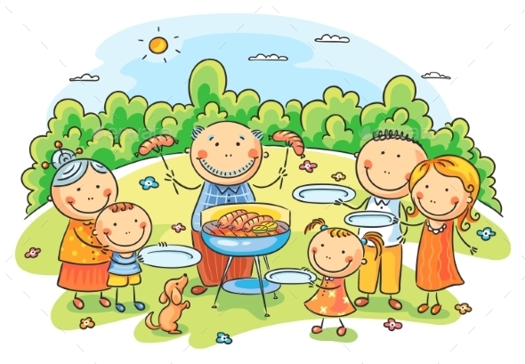 Big Family having Picnic - People Characters