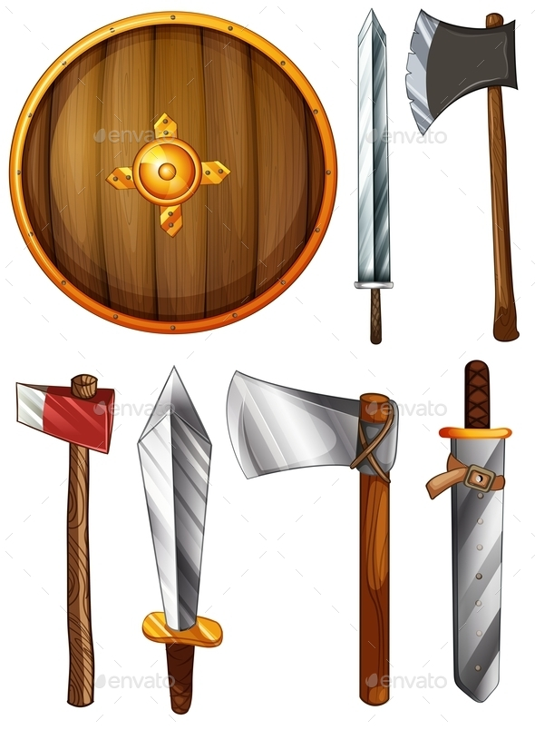 Shield, Swords and Axes - Man-made Objects Objects