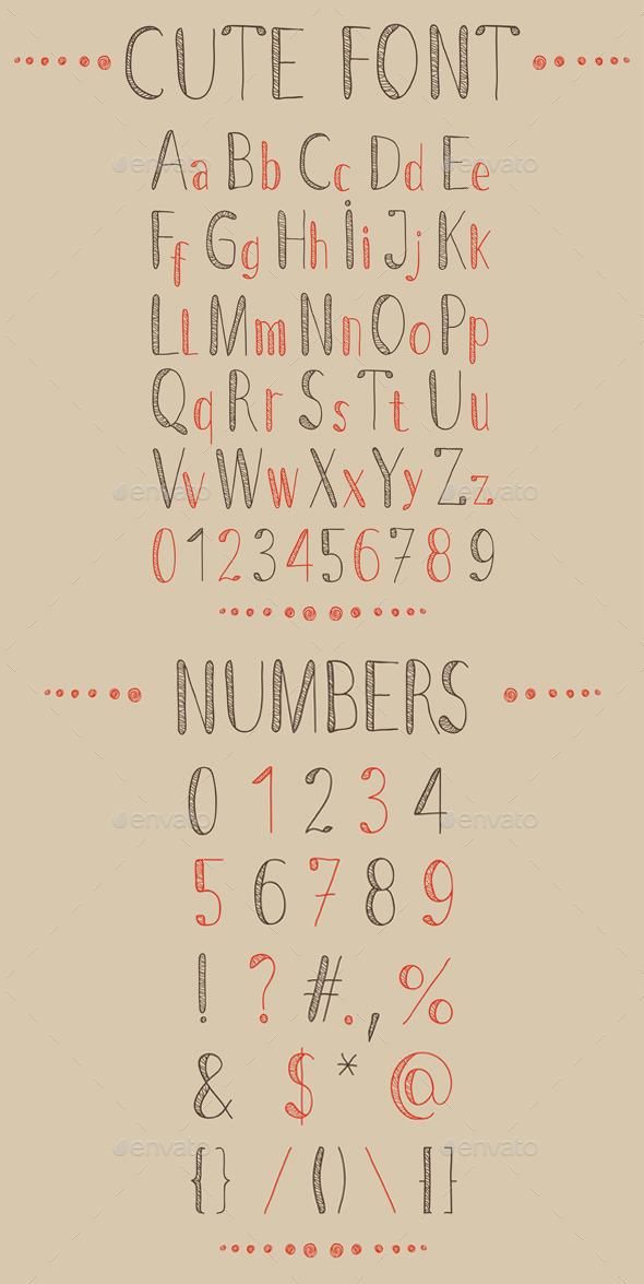 Hand Drawn Font and Numbers - Decorative Symbols Decorative