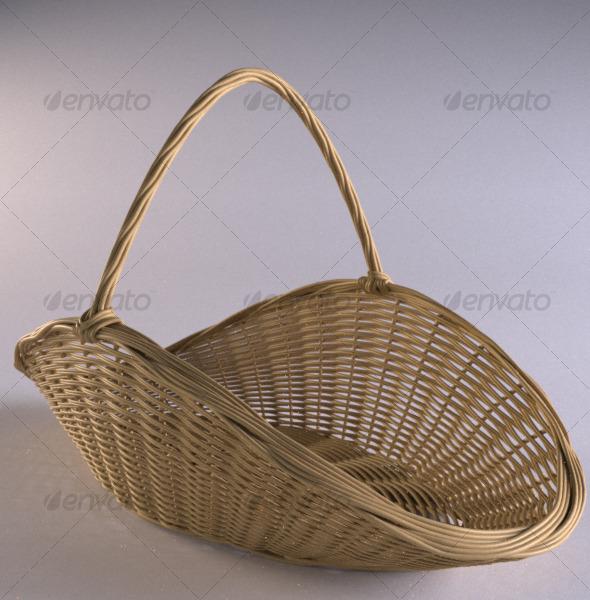 Wicker firewood basket - 3DOcean Item for Sale