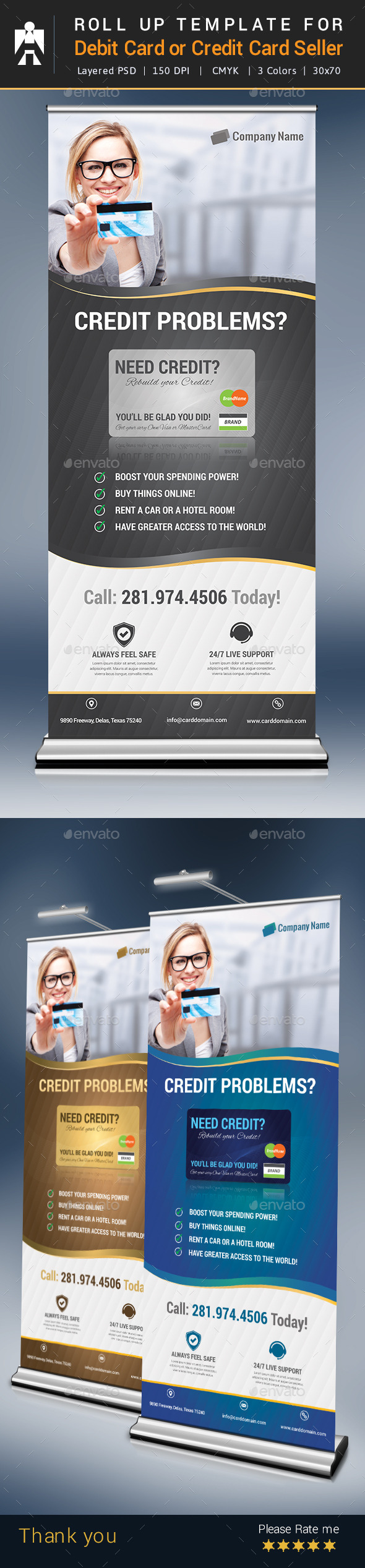Roll Up for Debit Card or Credit Card Seller - Signage Print Templates