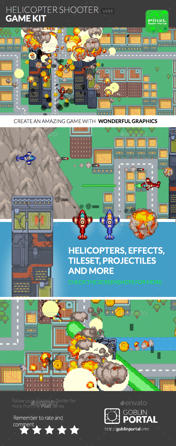 Pixel Helicopter Shooter - Game Kits Game Assets