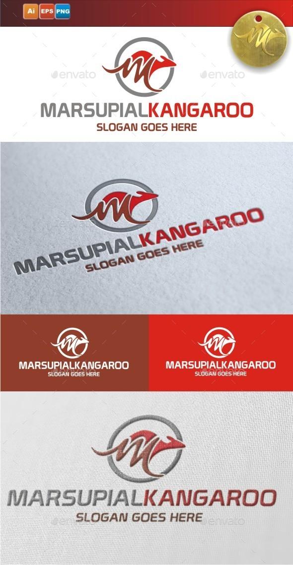Marsupial Kangaroo - Animals Logo Templates