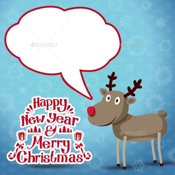 Reindeer with Speech Bubble - Christmas Seasons/Holidays
