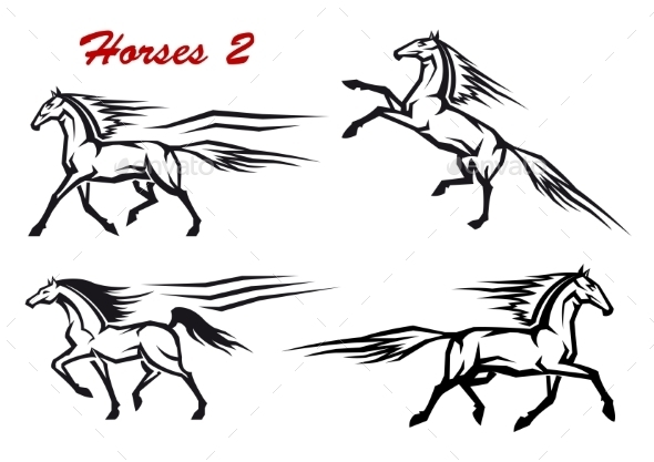 Powerful and Freedom Stallions - Animals Characters