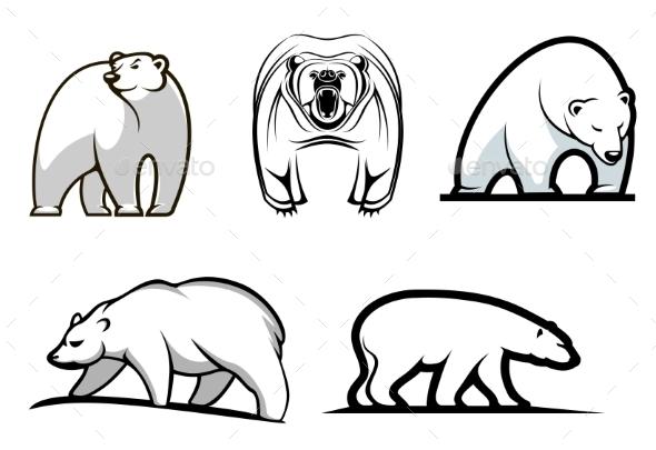 Set of Cartoon Polar Bears - Animals Characters