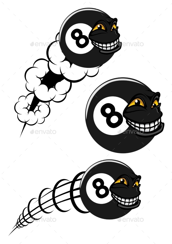 Flying Victorious Number 8 Billiard Ball Icon - Sports/Activity Conceptual
