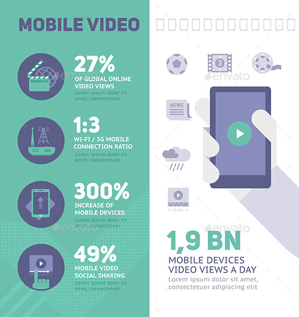 Mobile Online Video Infographics - Technology Conceptual