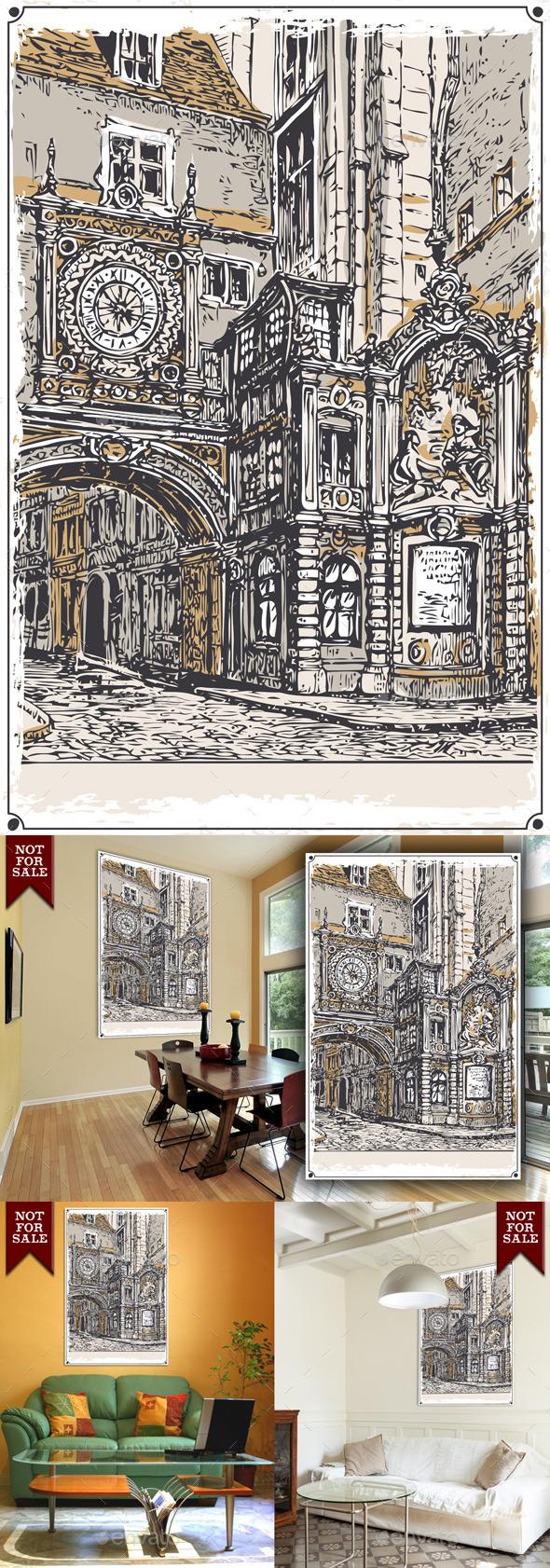 Vintage View of Gros Horloge street, Rouen - Buildings Objects