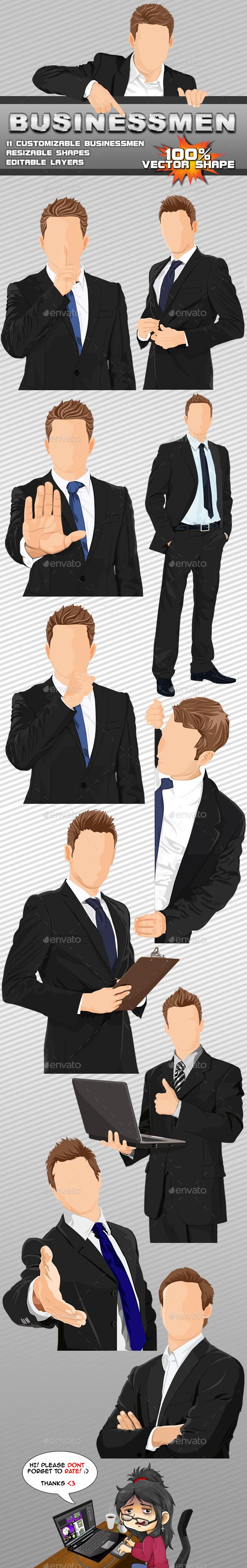 11 Vector Businessmen - Business Illustrations