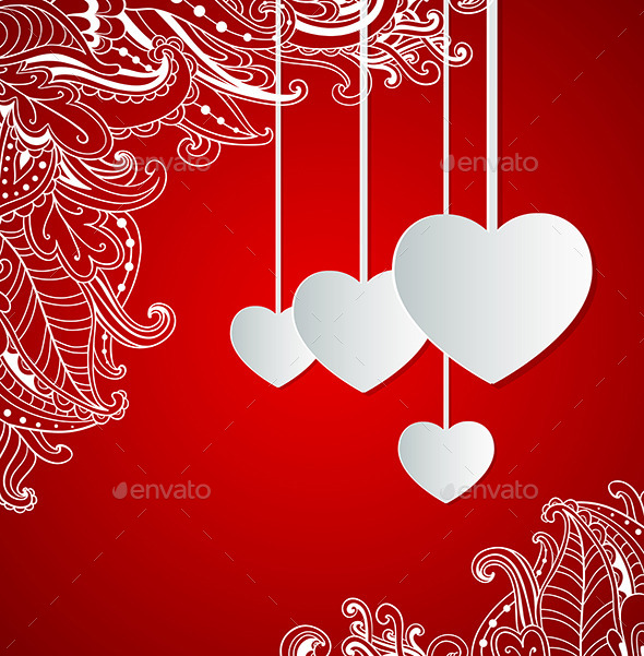 Red Background with Hearts - Valentines Seasons/Holidays