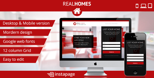 Instapage RealHomes - Real Estate Landing Page - Instapage Marketing