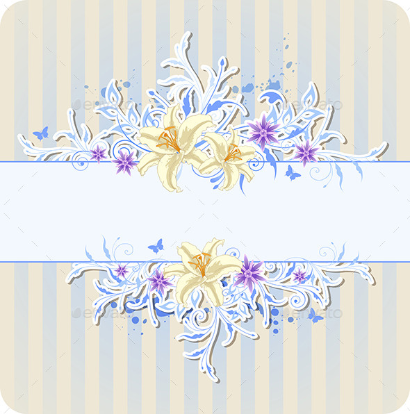 Decorative Blue Background with Lily - Flowers & Plants Nature