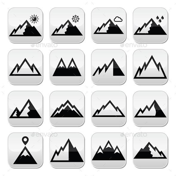 Mountains Buttons - Landscapes Nature