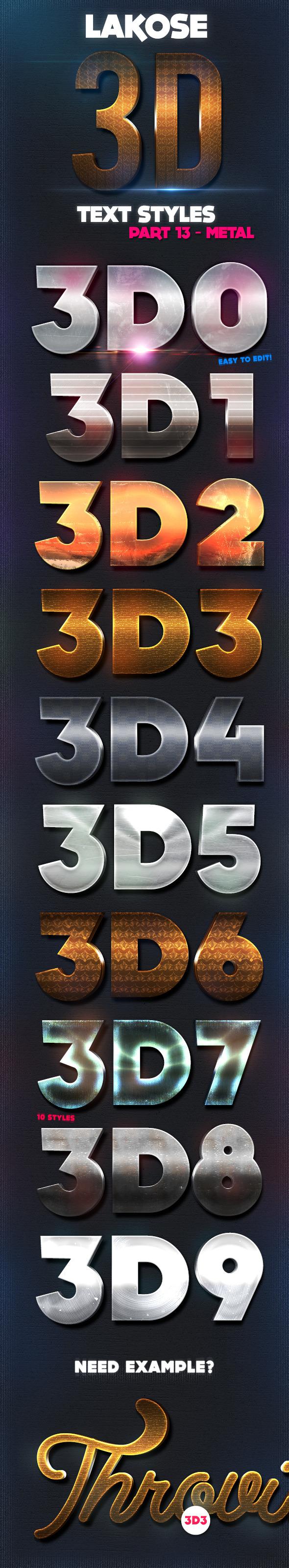 Lakose 3D Text Styles Part 13 - Text Effects Styles
