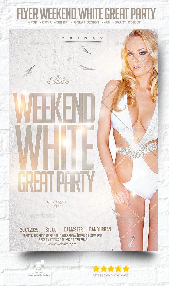 Flyer Weekend White Great Party - Clubs & Parties Events