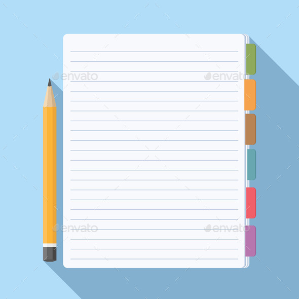 Notepad with Bookmarks - Objects Vectors