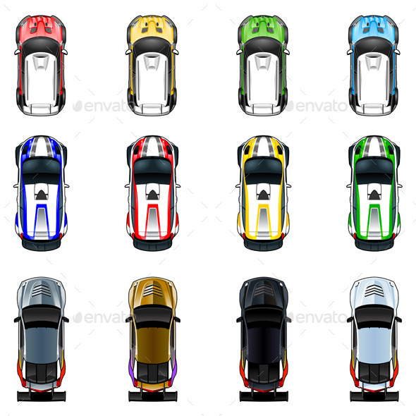 Cars in Four Colors - Objects Vectors