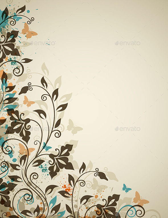 Decorative Vintage Background with Flowers - Backgrounds Decorative