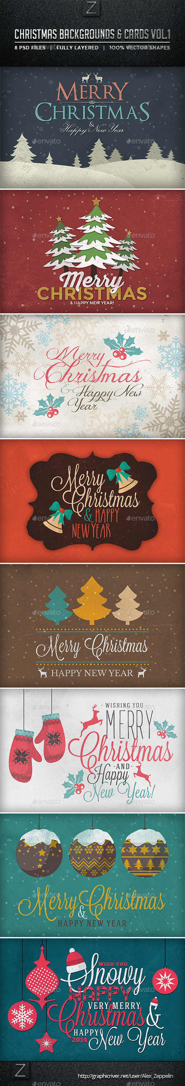 Christmas Backgrounds and Cards Vol.1 - Backgrounds Graphics
