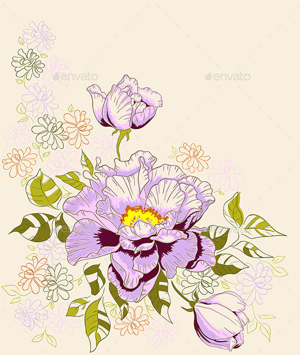 Decorative Background with Peony Flowers - Flowers & Plants Nature