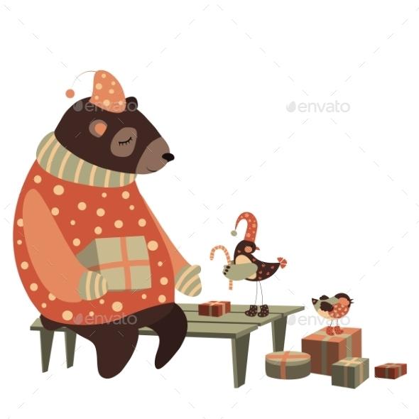 Bear and Bird Celebrate Christmas - Christmas Seasons/Holidays