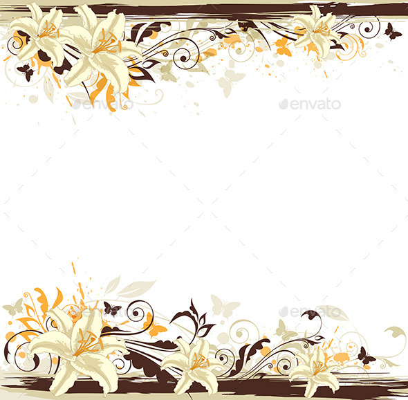 Decorative Background with White Lily - Flowers & Plants Nature