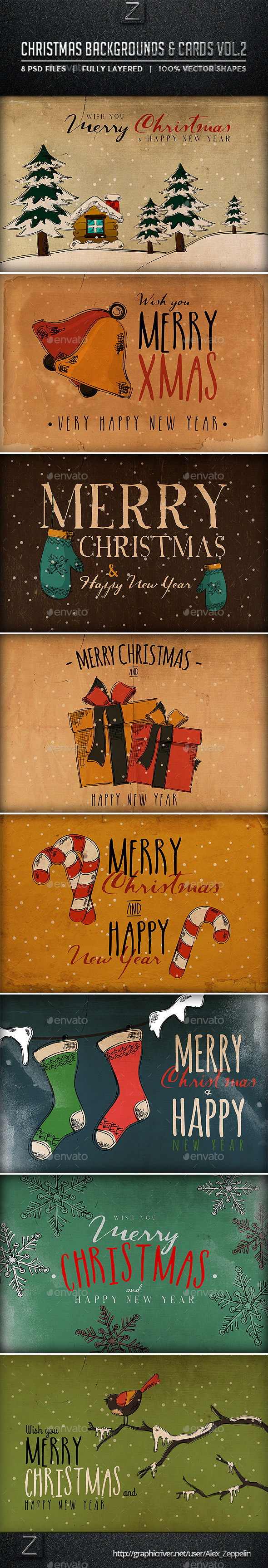 Christmas Backgrounds and Cards Vol.2 - Backgrounds Graphics