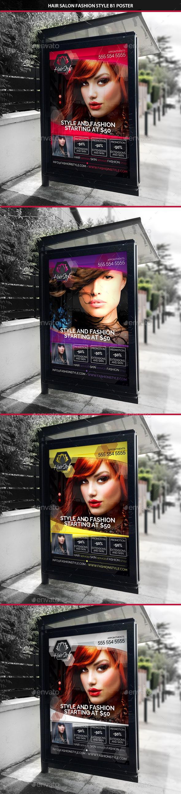 Hair Salon Fashion Style B1 Signage Poster - Signage Print Templates