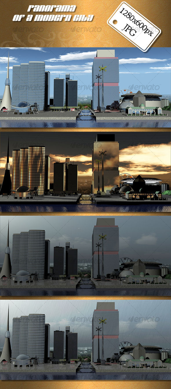 Panorama of Modern City - 3D Backgrounds