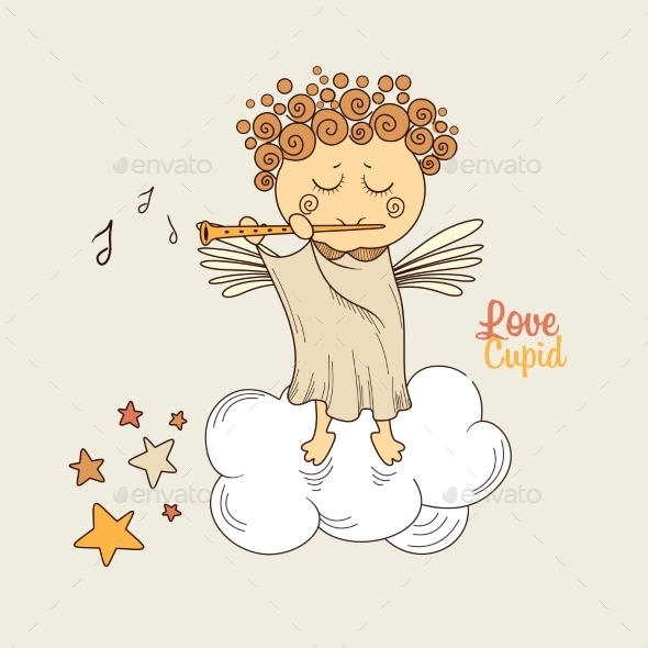Cupid Playing the Flute - Valentines Seasons/Holidays