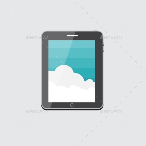Flat Computer Tablet Concept Vector Illustration - Web Technology
