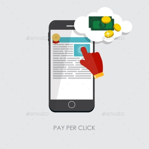 Pay Per Click Flat Concept for Web Marketing - Web Technology