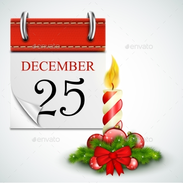 25 December Opened Calendar With Candle - Christmas Seasons/Holidays