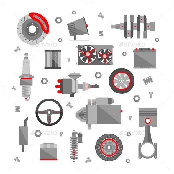 Set of Auto Spare Parts - Man-made Objects Objects