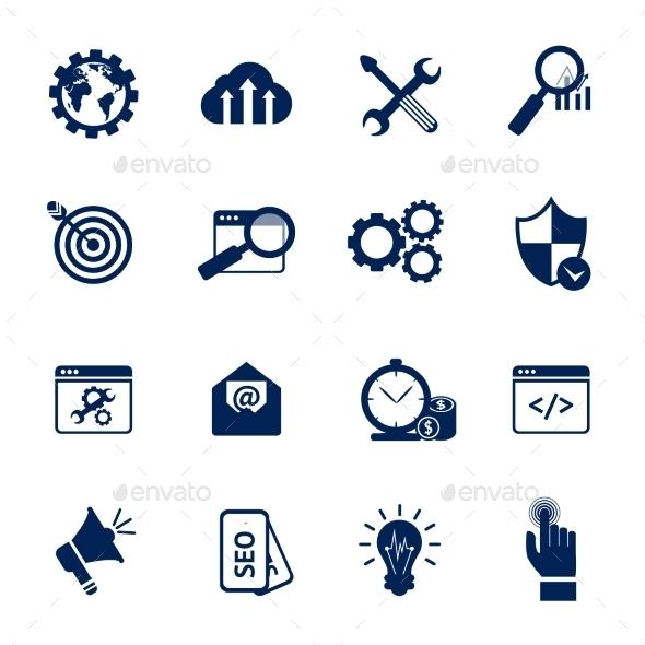 Seo Internet Marketing Symbols - Web Technology